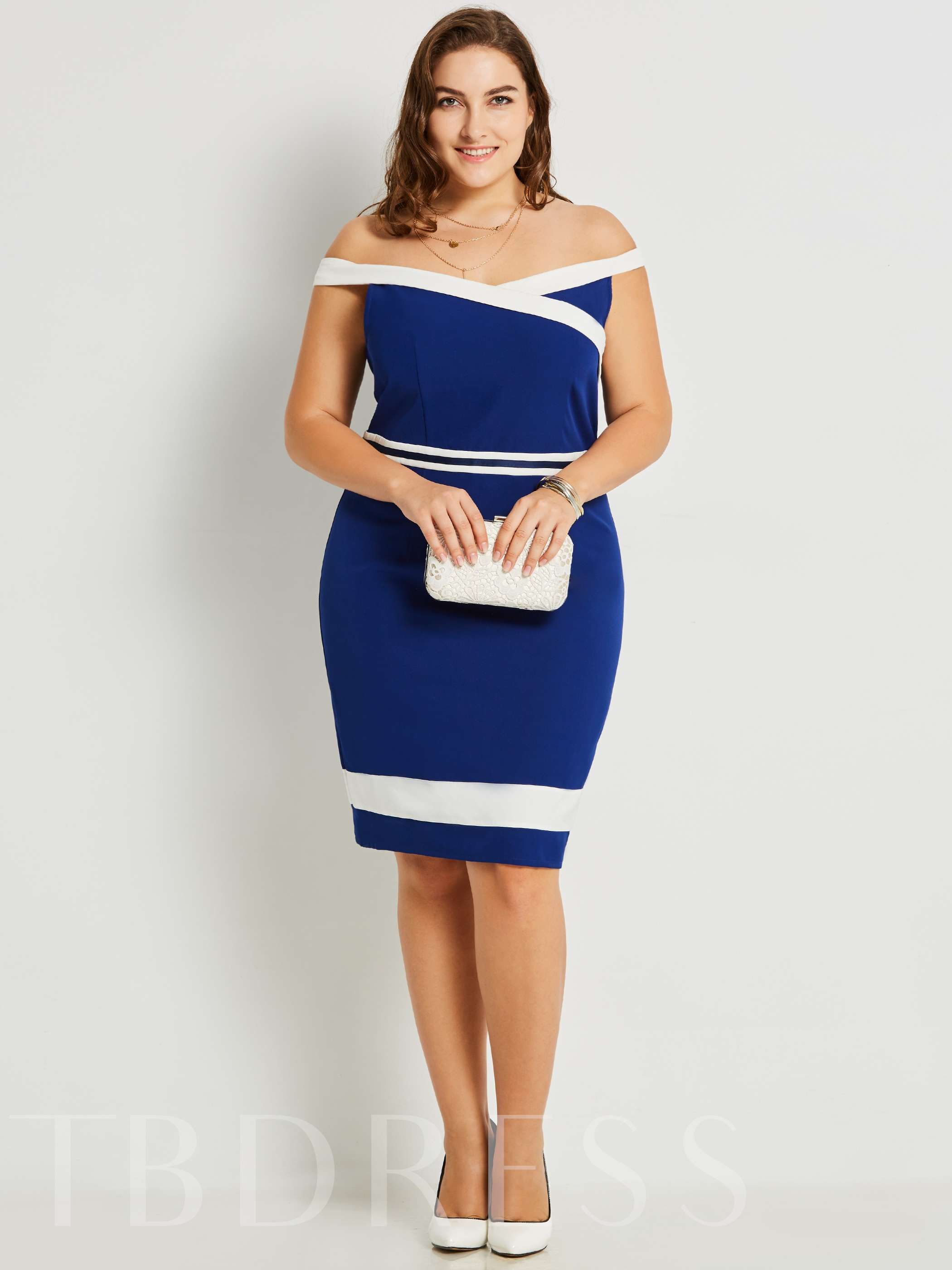 Buy Blue Invisible Zipper Plus Size Women's Bodycon Dress, Plusee, 12966958 for $26.99 in TBDress store