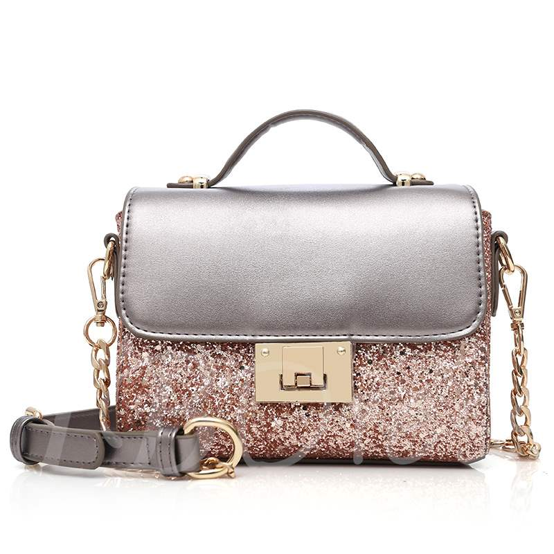 Trendy Shining Sequins Color Block Cross Body Bag