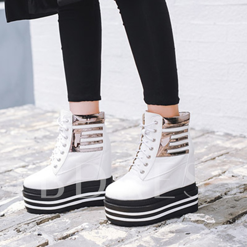 Patchwork Lace-Up Hidden Elevator Heel Women's Fashion Ankle Boots