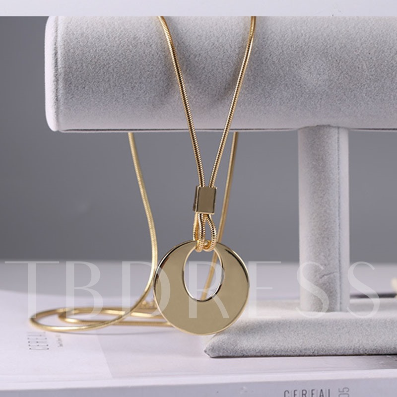 Long Rope Chain Alloy Simple Pendant Necklace