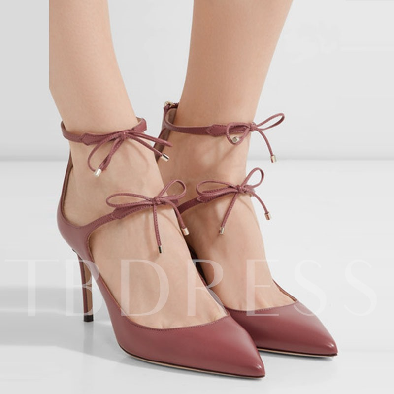 Red High Heels Back Zipper Bow Dress Shoes(Plus Size)