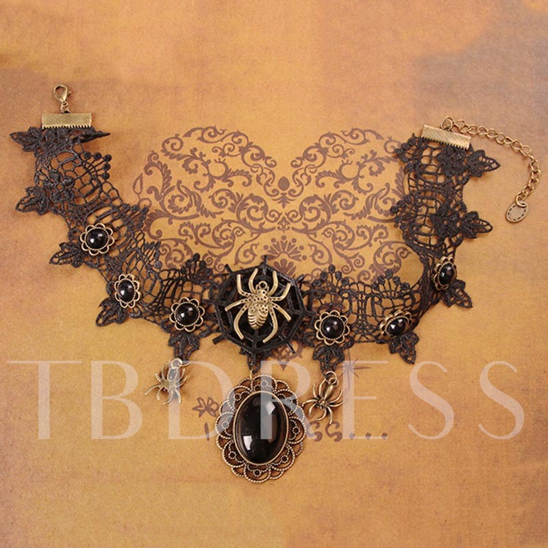 Halloween Series Vintage Lace Spider Web Round Stone Choker Necklace