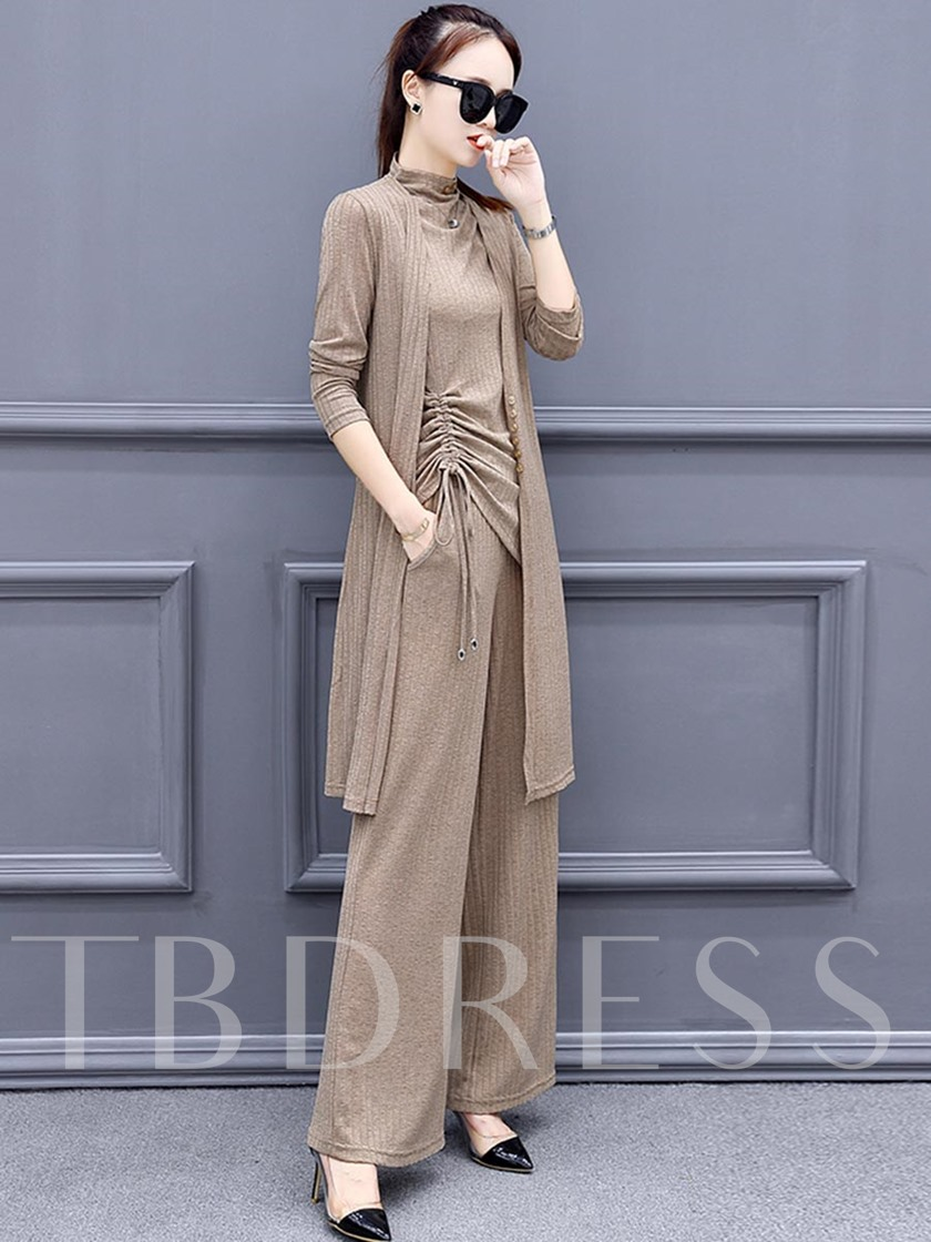 Plain Slim Asymmetric Wide Legs Women's Three Piece Set