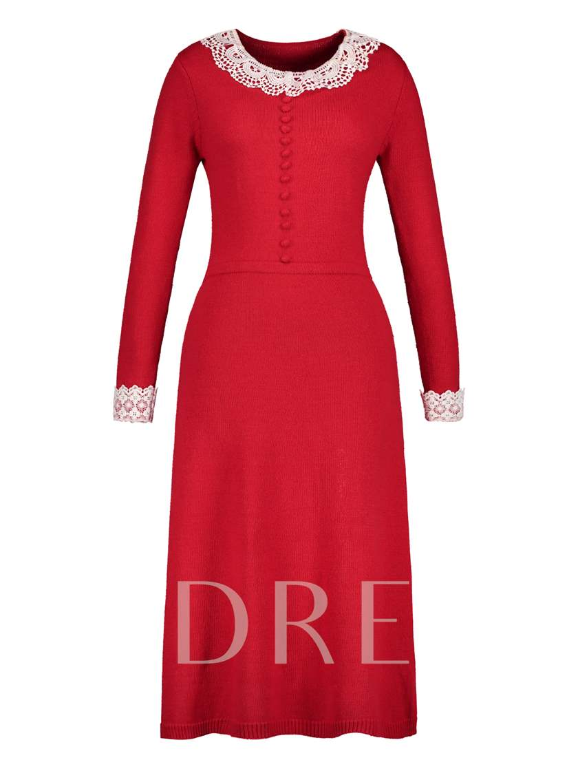 Red Single-Breasted Women's Maxi Dress