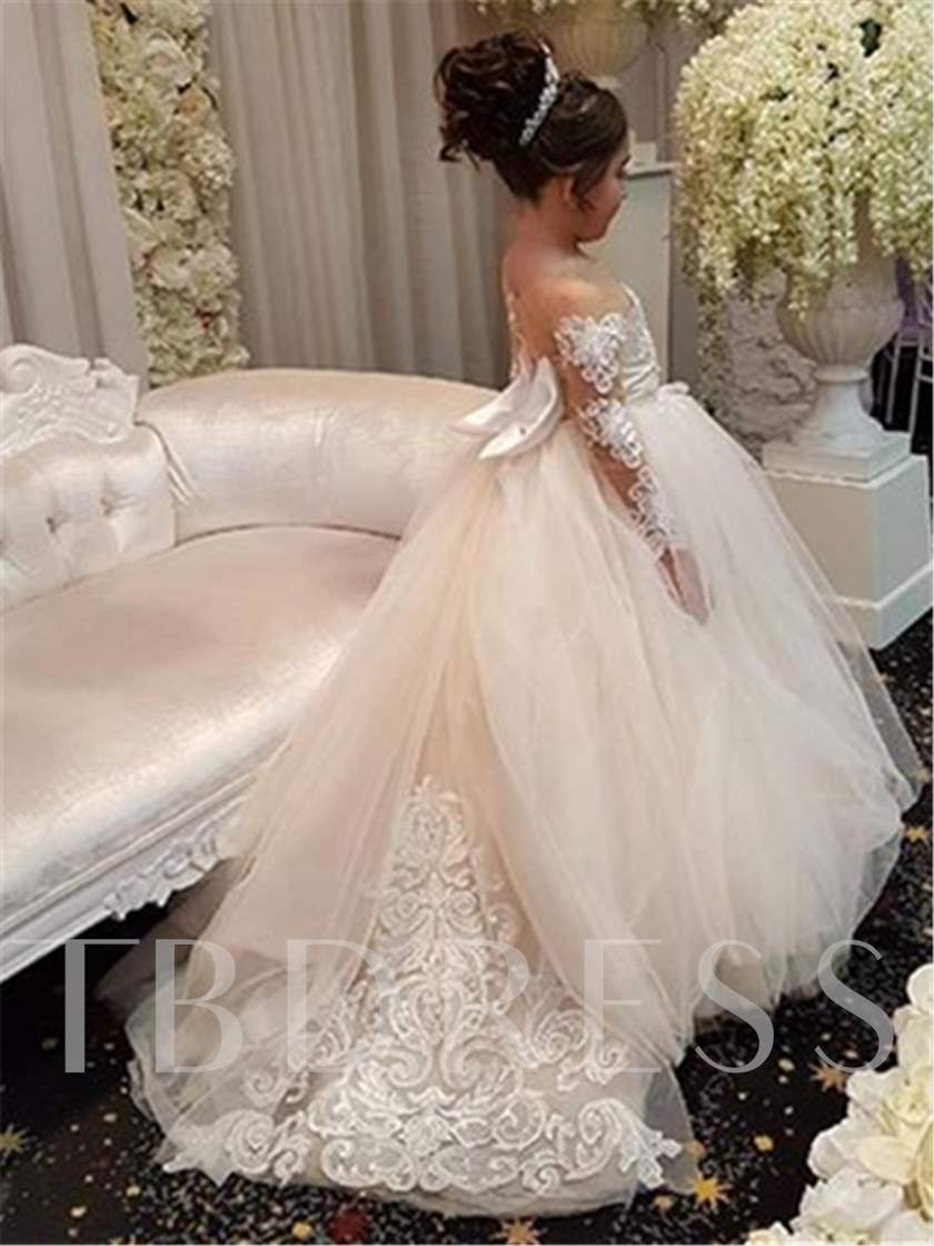 Sheer Neck Long Sleeves Appliques Flower Girl Dress
