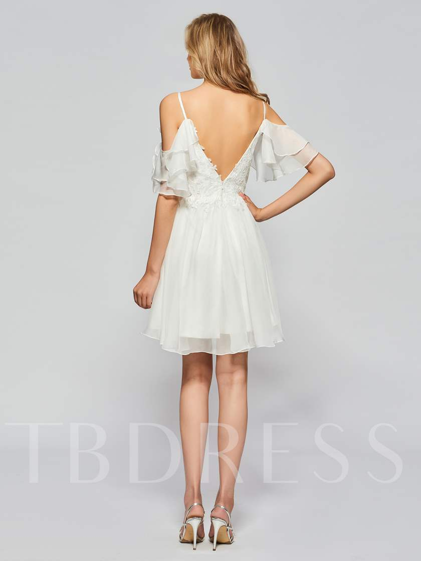 A-Line Half Sleeves Spaghetti Straps Beading Lace Ruffles Homecoming Dress