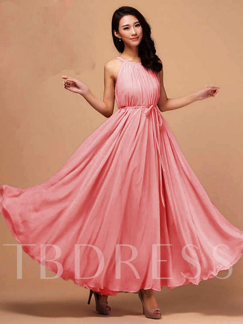 Solid Color Chiffon Pleated Women's Maxi Dress