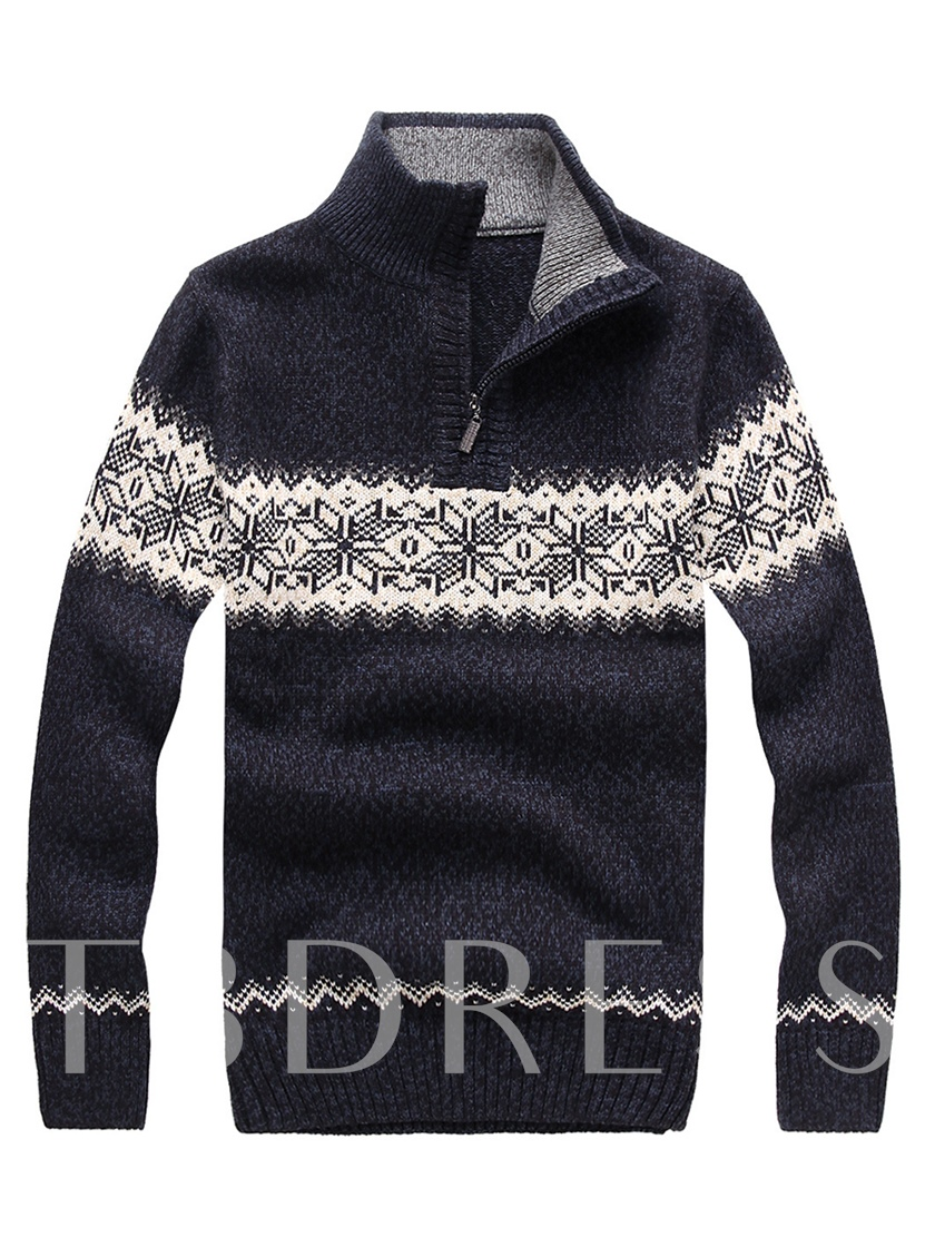 Korean Style Stand Collar Zipper Ethnic Printed Thicken Warm Men's Sweater
