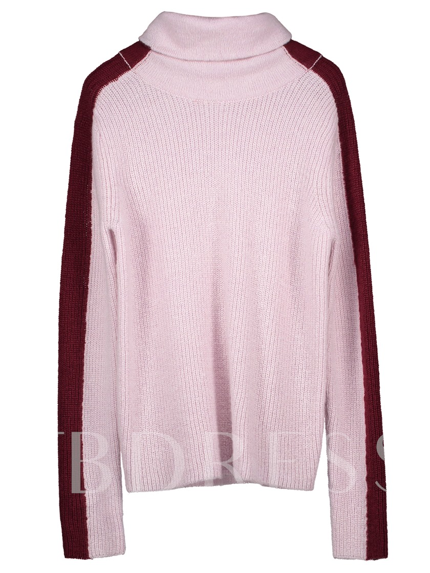 Turtle Neck Color Block Pullover Women's Sweater