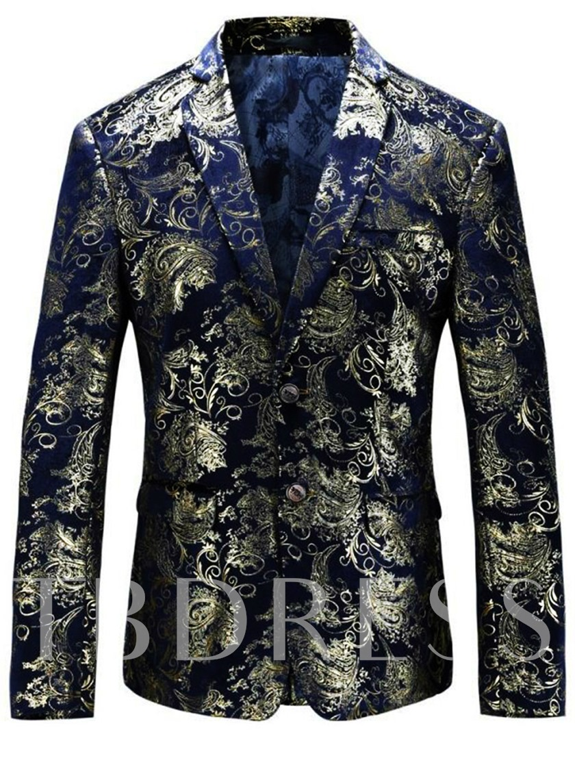 Gold Floral Print Slim Men's Leisure Blazer