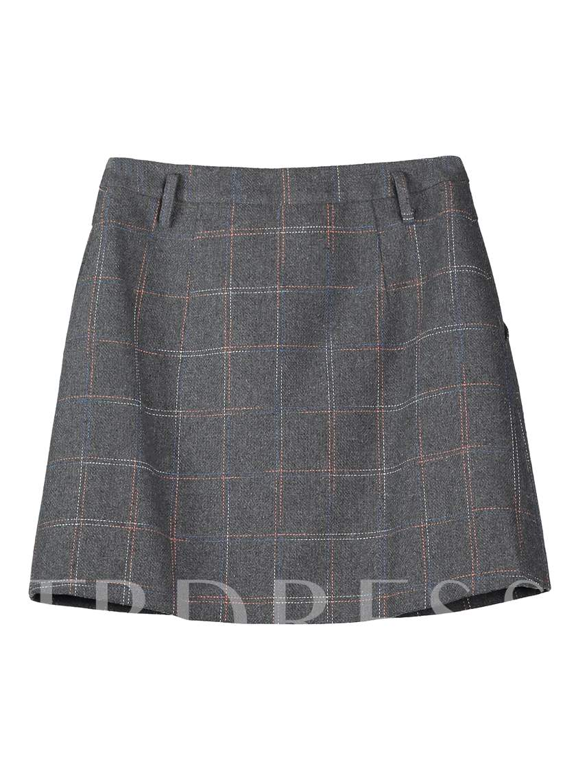 High-Waist Pocket Plaid Women's Mini Skirt