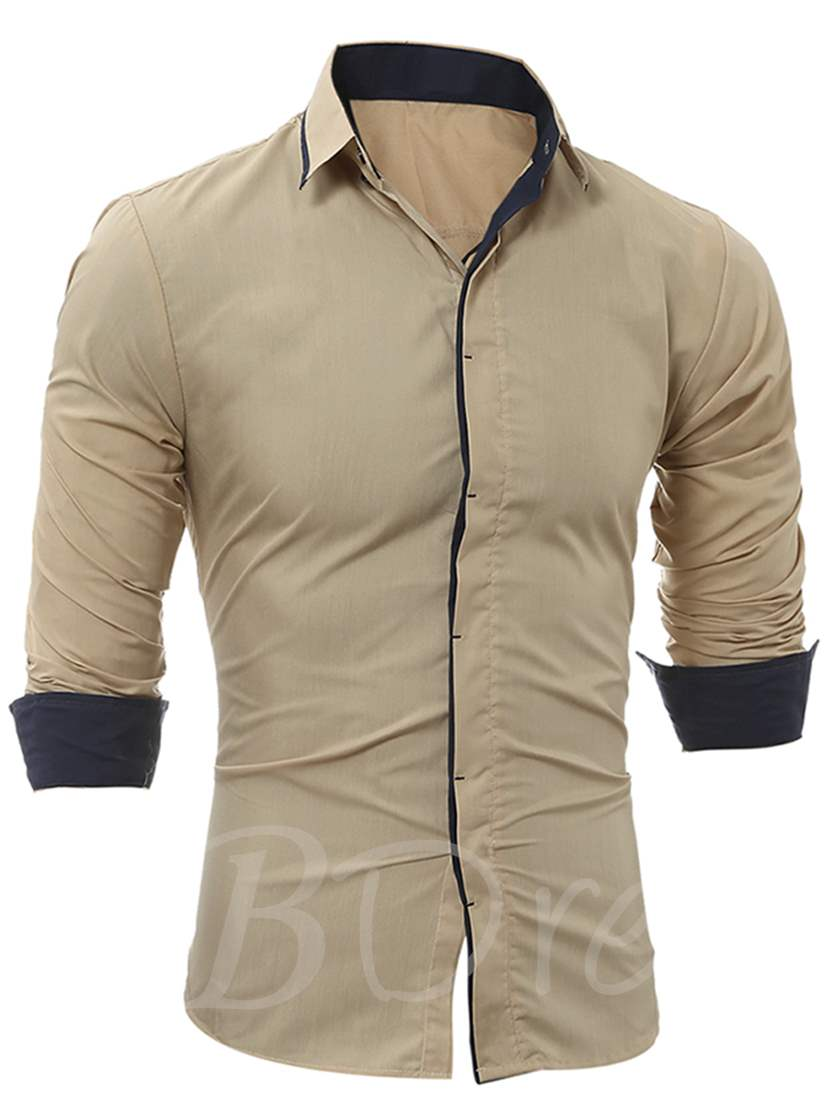 Lapel Contrast Trim Single-Breasted Slim Fit Men's Dress Shirt