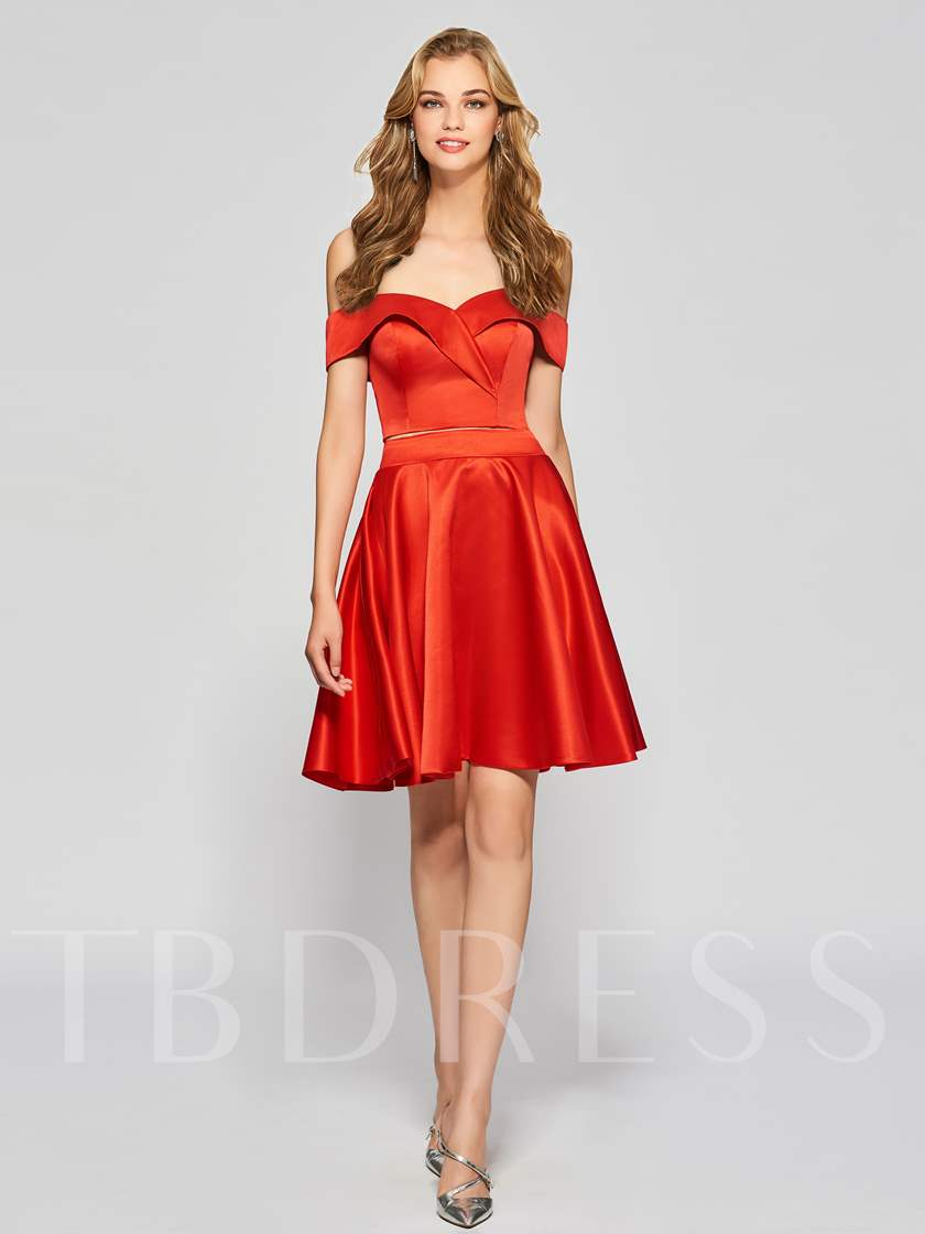 Sweetheart Empire Off-the-Shouder Homecoming Dress