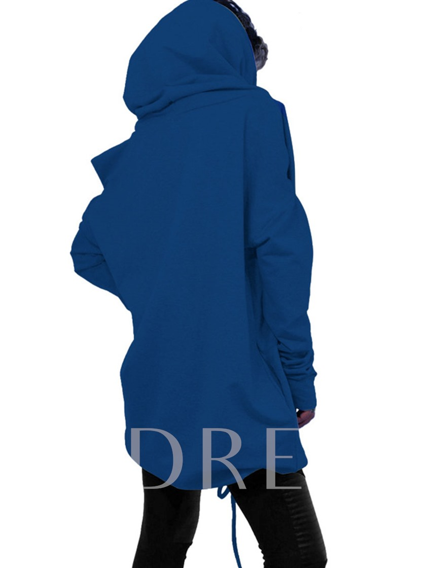 Asymmetric Plain Hooded Lace-up Women's Hoodie