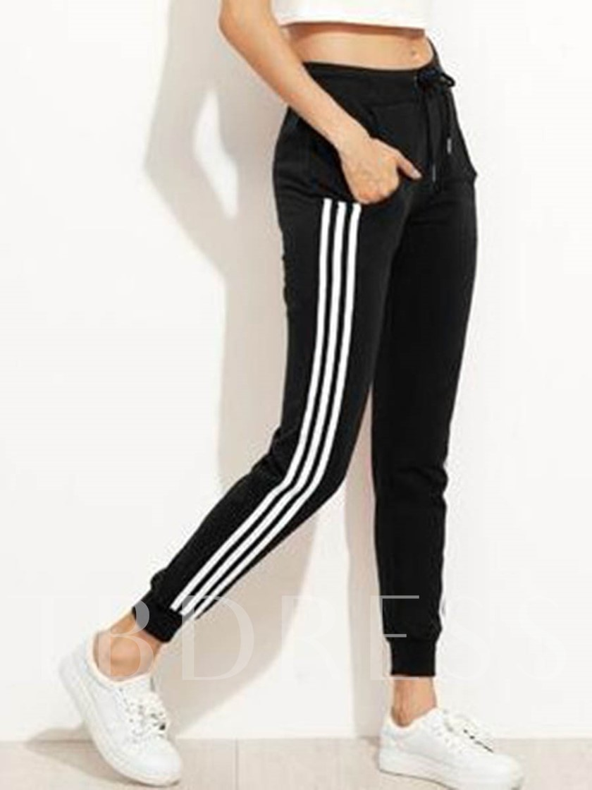 Patchwork Stripe Loose Mid-Waist Women's Casual Pants