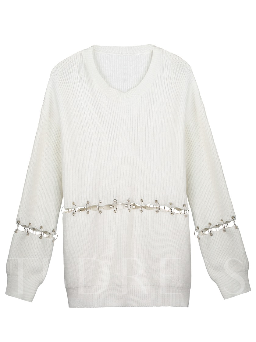 Round Neck Hollow Eyelet Ring Pullover Women's Knitwear