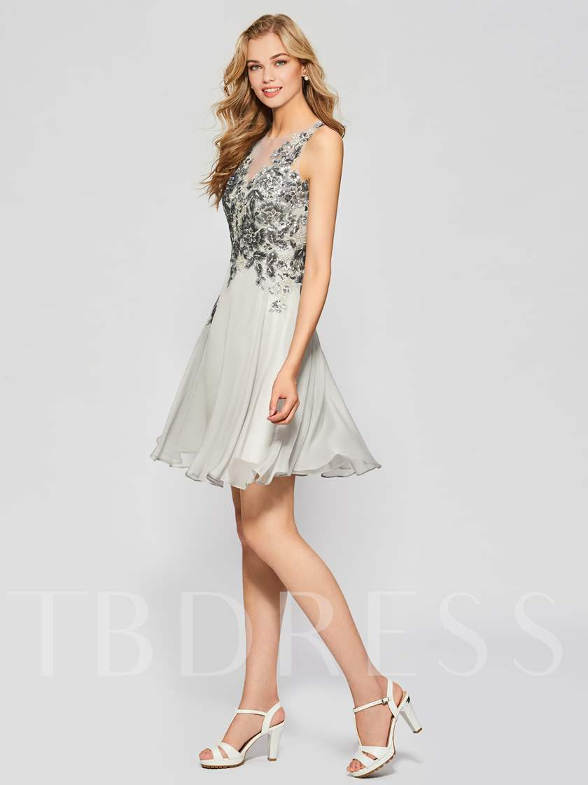 Sheer Button Back Sequins Homecoming Dress