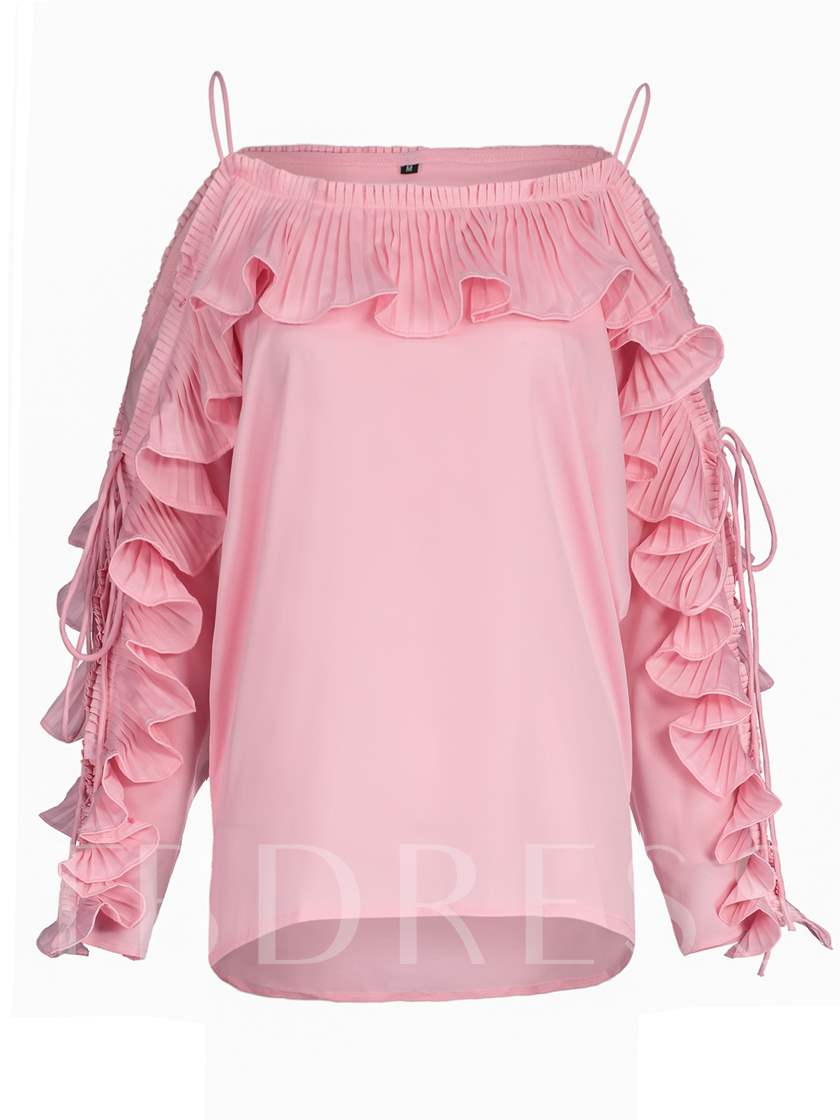 Spaghetti Strap Ruffled Plain Women's Blouse