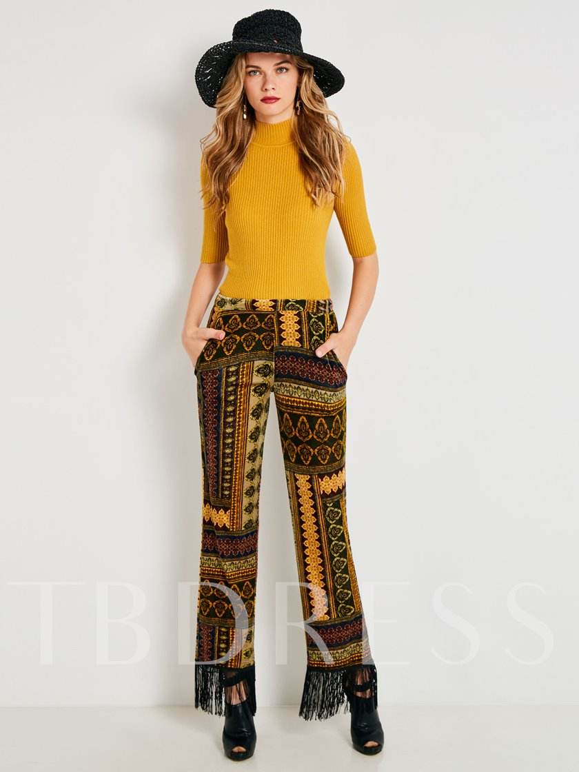 Tassel Geometric Print Women's Casual Pants