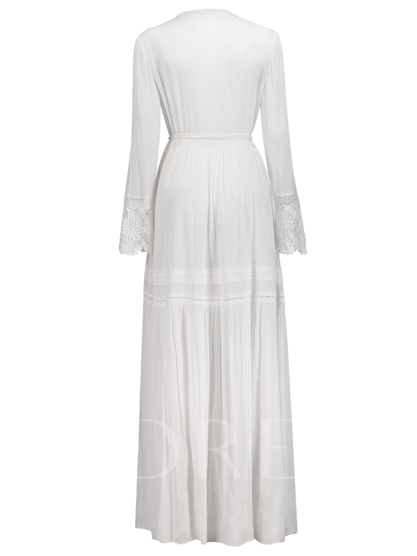 White Tassels Lace Patchwork Women's Maxi Dress