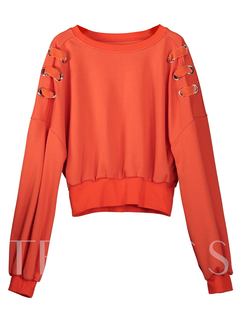 Round Neck Lace-Up Pullover Women's Sweatshirt
