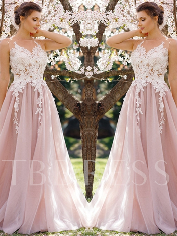 A-Line Jewel Appliques Brush Train Prom Dress
