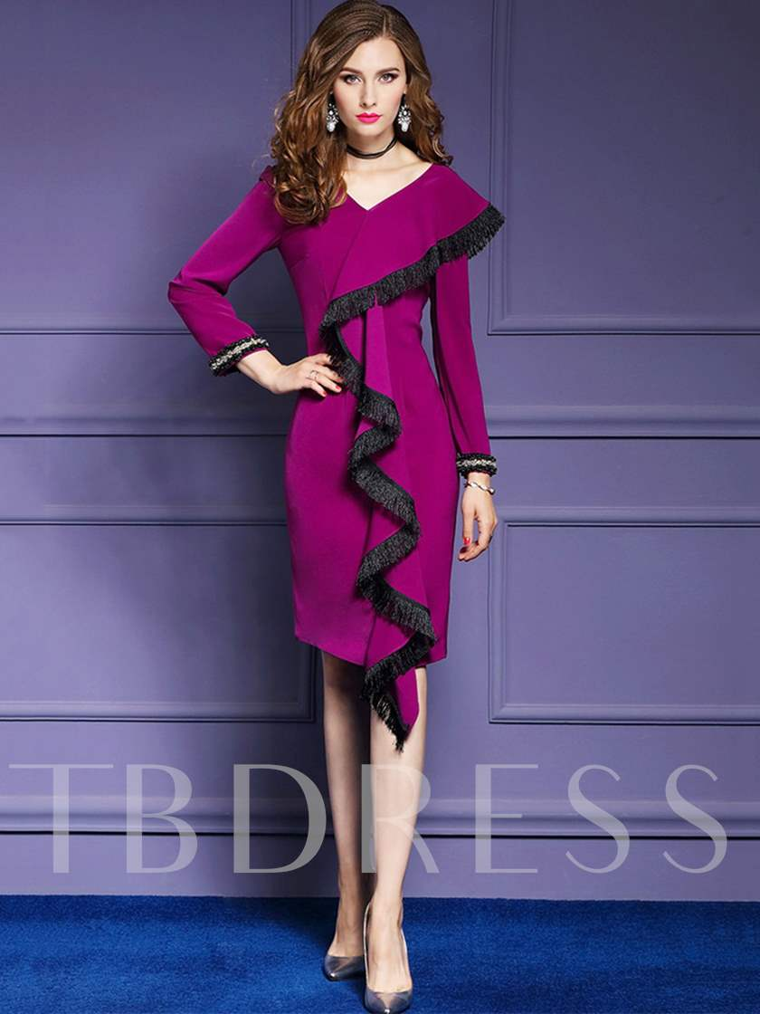 Long Sleeve Falbala Tassels Women's Sheath Dress.