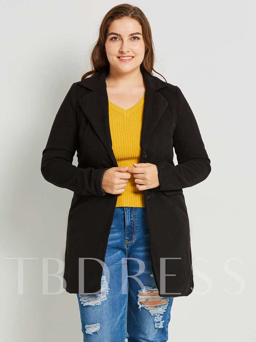 Lapel Fleece Plus Size Zipper Women's Overcoat