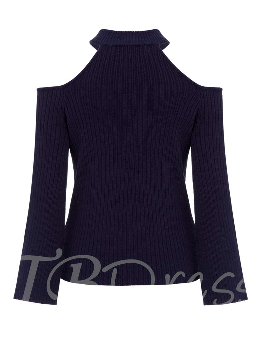 Stand Collar Hollow Plain Pullover Women's Sweater