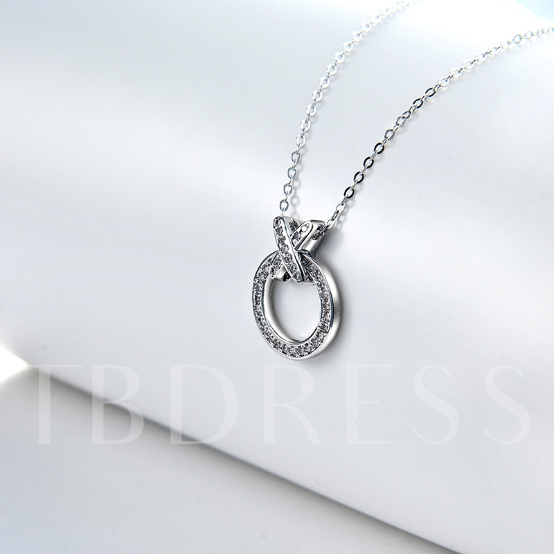 Full Drill Round X Type Link Chain Simple Necklace