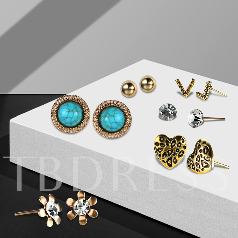 V Type Flower Diamante Heart Round Imitation Turquoise Earrings&Rings Jewelry Sets