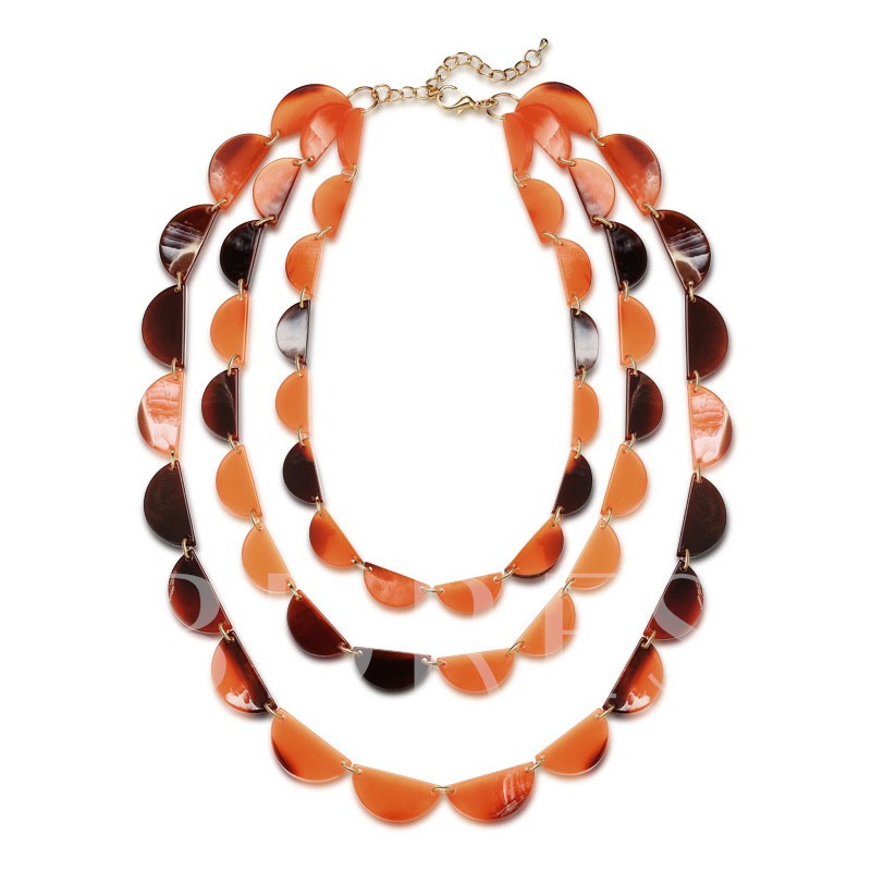 Acrylic Semicircle Colorful Multilayer Necklace