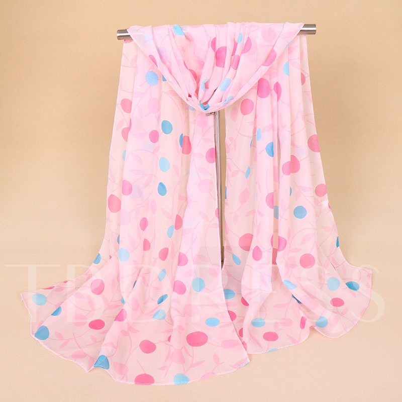 Transparent Dot Linen Sheer Leaves Scarfs