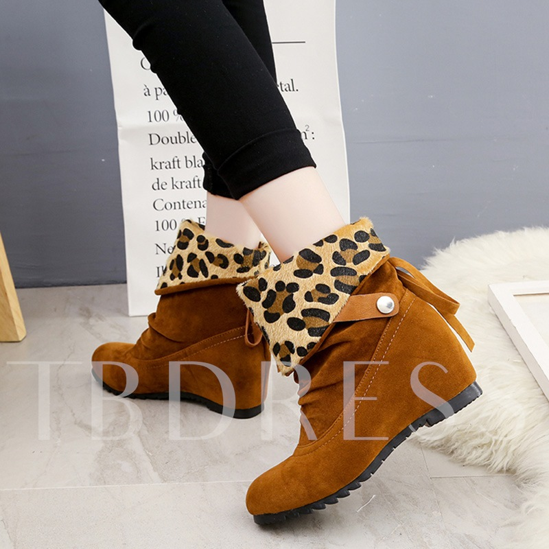 Height Increasing Shoes Buckle Slip-On Leopart Print Women's Ankle Boots