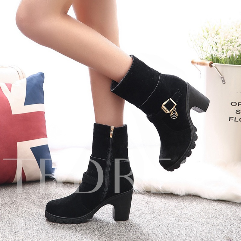 Short Floss Zipper Chunky Heel Women's Ankle Boots