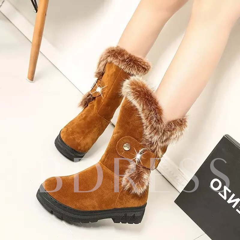 Women's Snow Boots Patchwork Height Increasing Shoes