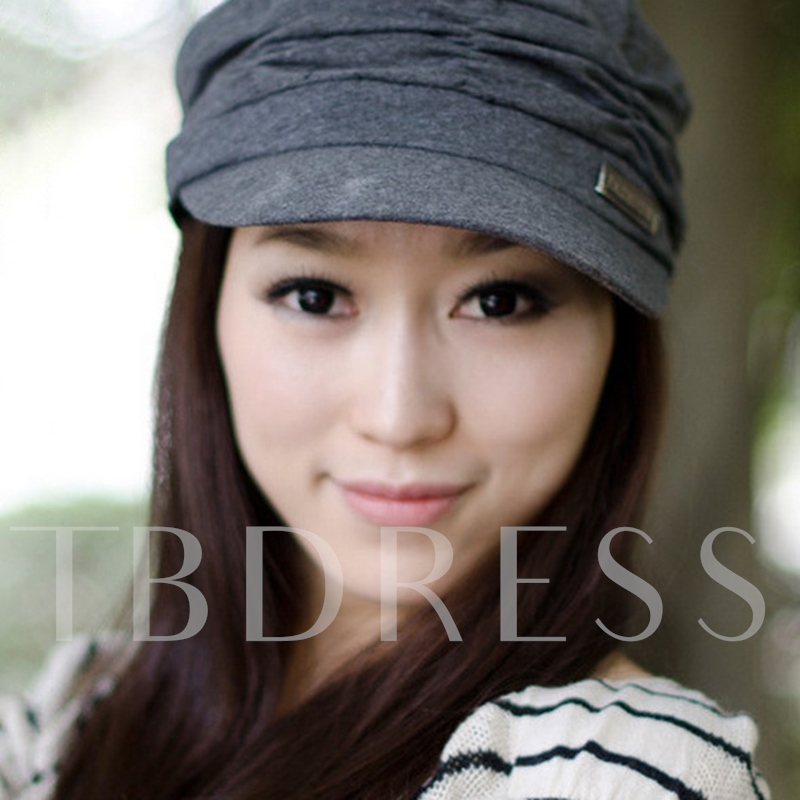 Korean Style Pleated Cotton Solid Color Hats