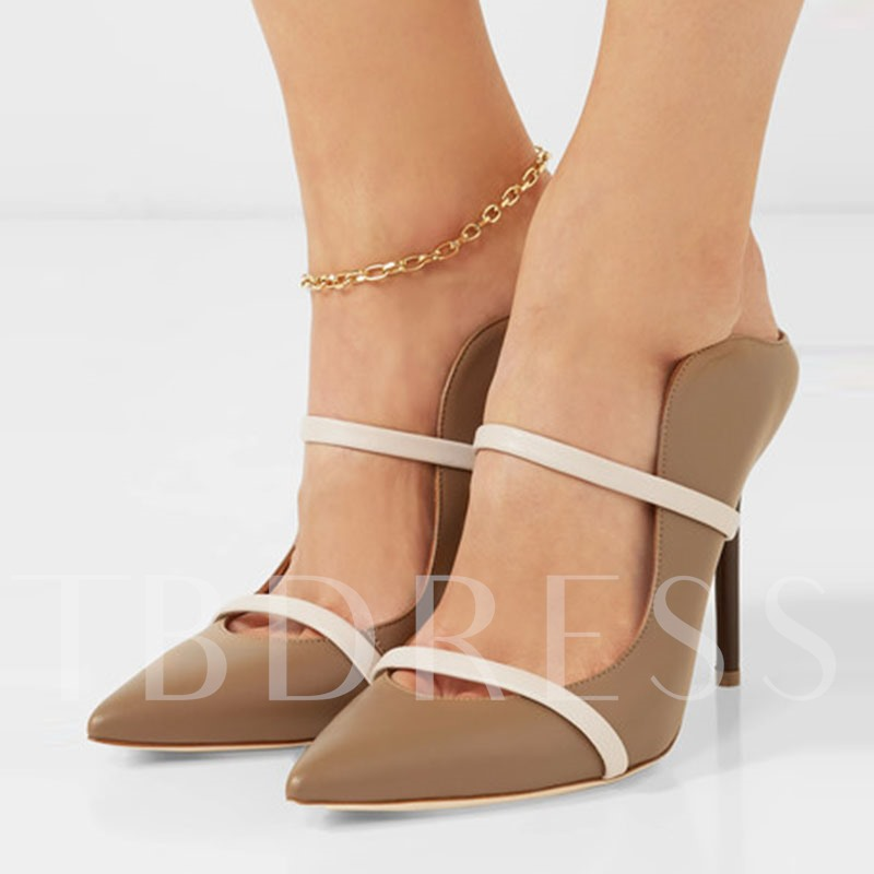 Khaki Color Block Pumps Slip On Women's High Heels