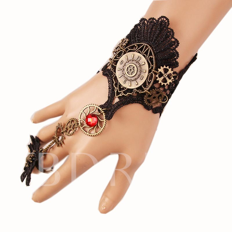 Lace Flower Black Geometric Alloy Halloween Bracelet Bracelet
