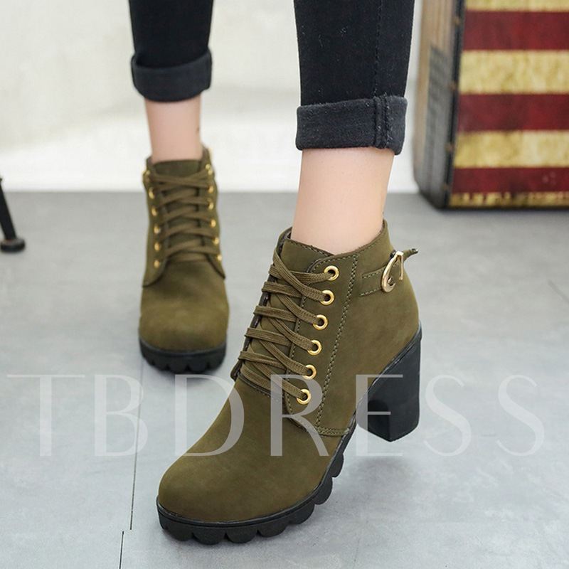 Multiple Color Buckle Platform Chunky Heel Women's Ankle Boots