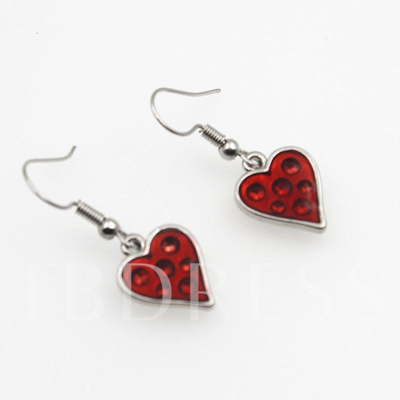 Gothic Red Heart Alloy Oil Drip Halloween Earrings