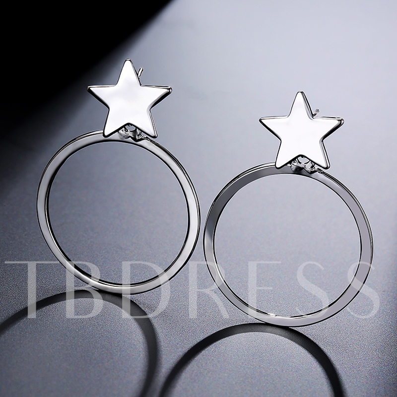 Simple Geometric Star Ring Alloy Hoop Earrings