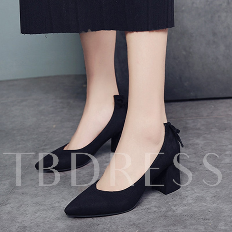 Suede Chunky Heel Pumps Bow Sweet Shoes for Women