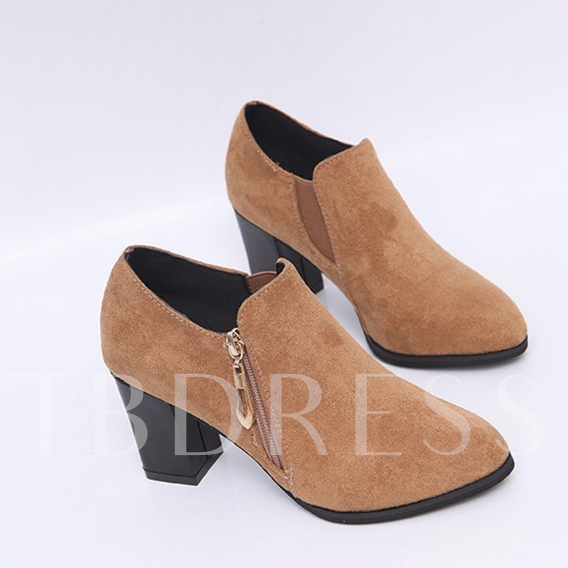 Suede Side Zipper Chunky Heel Women's Casual Ankle Boots