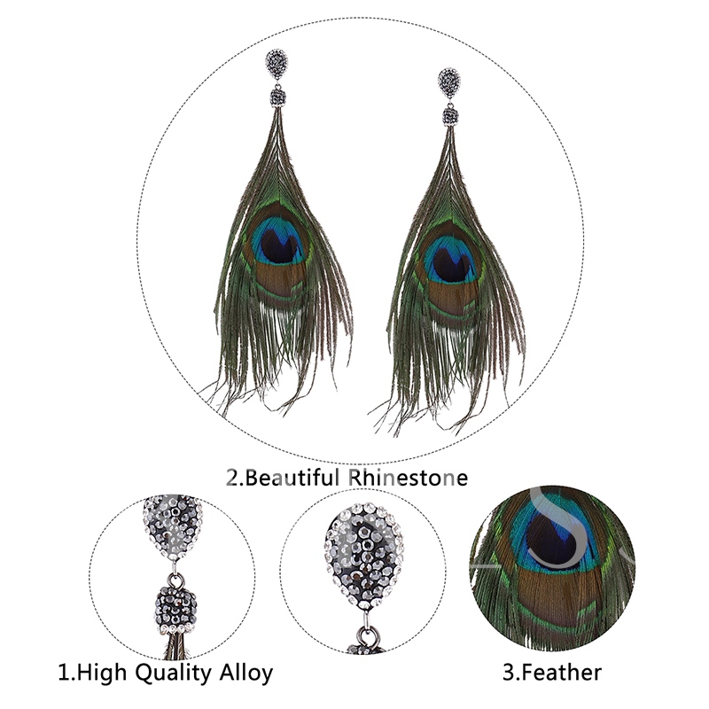 Feathers Rhinestone Alloy Silver Plated Earrings