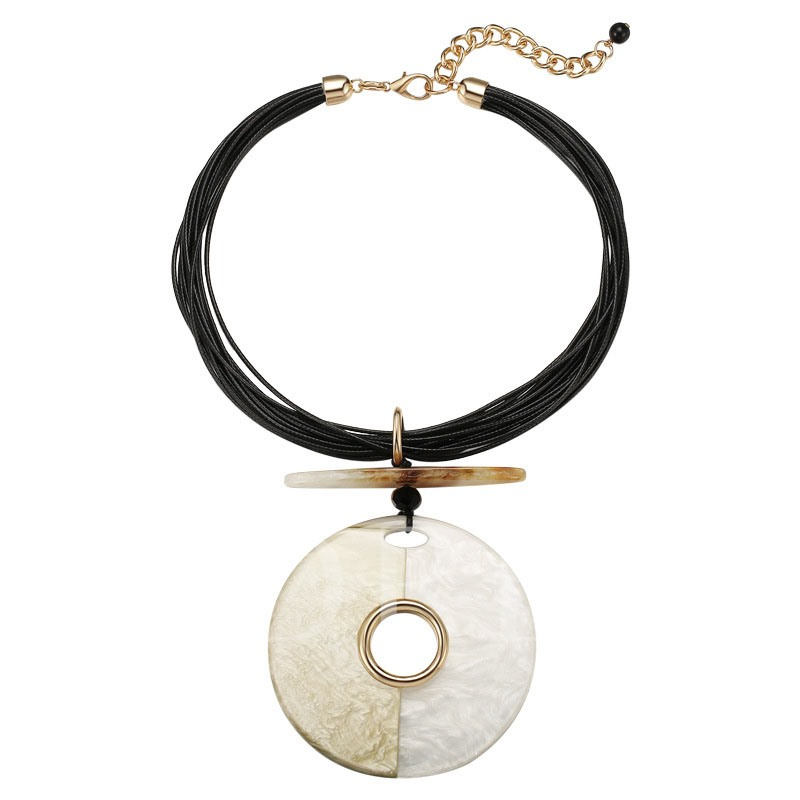 Circle Patchwork Alloy PU Rope Necklace