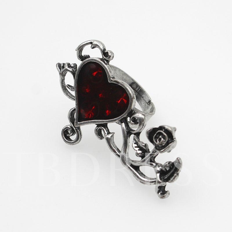 Halloween Series Rose Oil Drip Heart-Shaped Stone Punk Ring