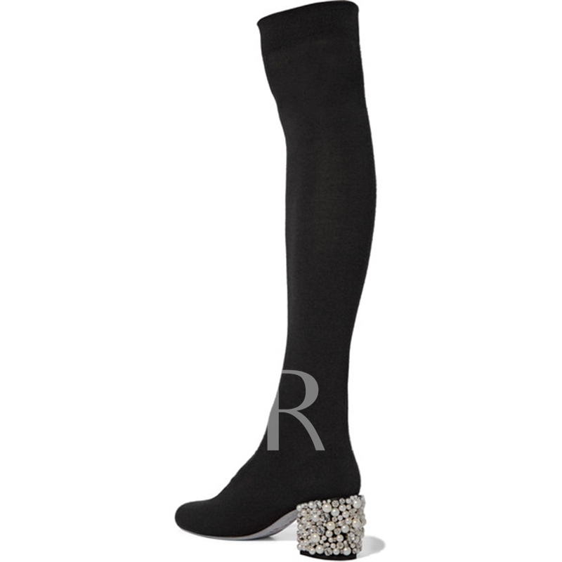 Black Thigh High Boots Block Heel with Pearl Zipper Women's Shoes