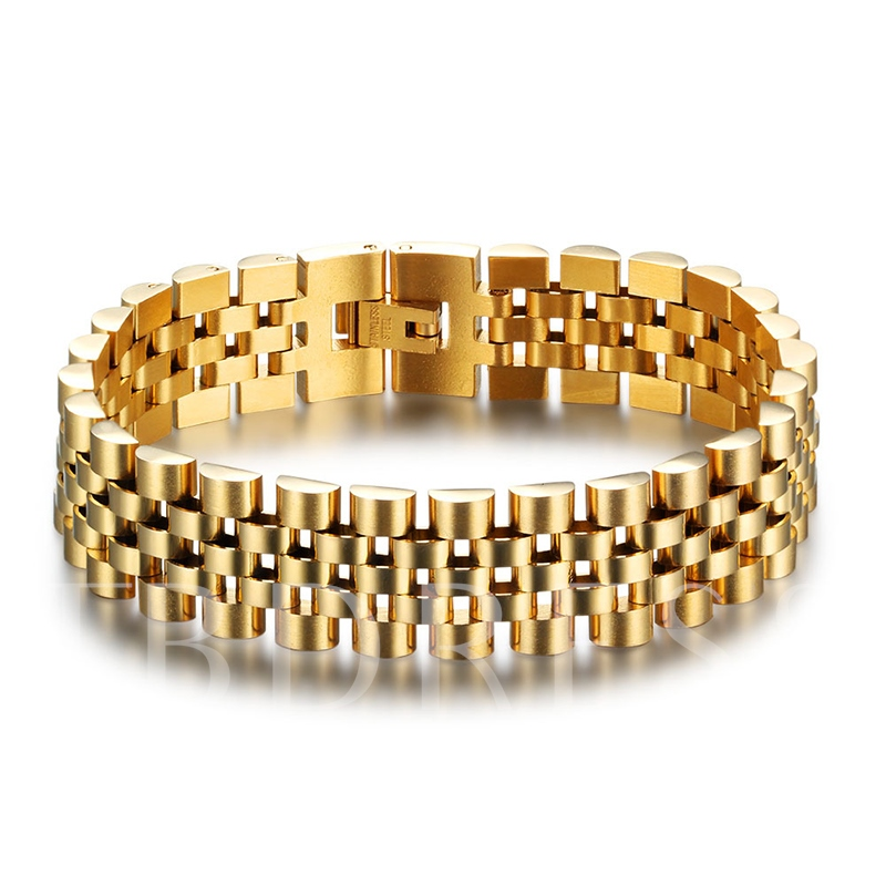 Gold Plated Vintage Stainless Steel African Men's Bracelet