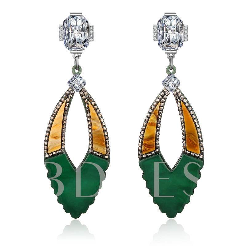Hollow Out Diamante Rhinestone Acrylic Earrings